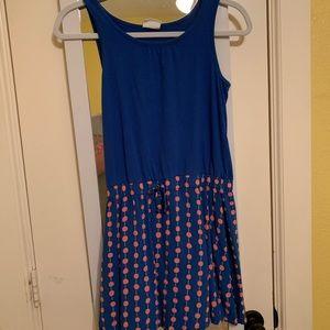 Blue Tank Top Dress with Polka Dots